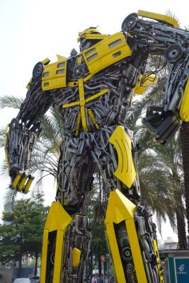 A Bumblebee Transformer-like robot sculpture.