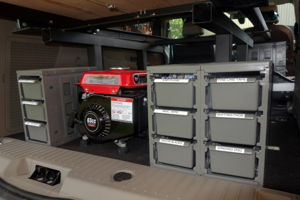 Additional storage underneath the rear bed slide. This area would be immediately accessible when you pop open the rear door.