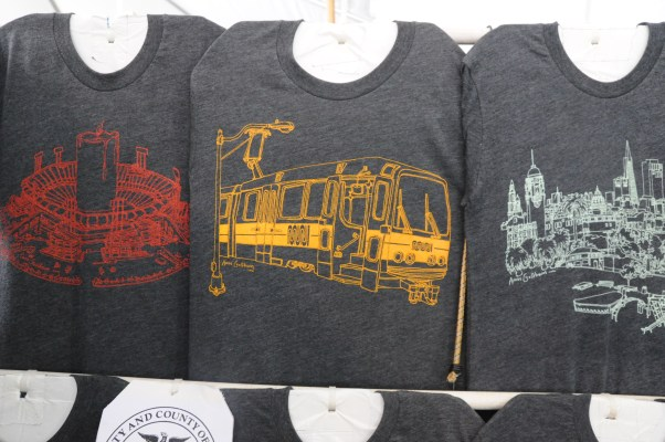 Amos Goldbaum puts his intricate hand drawn sketches of famous parts of San Francisco on T-shirts.