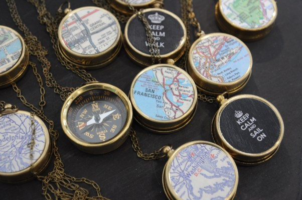 Navigating around Maker Faire can be confusing with all the crowds. Find your way in style with these compass necklaces by Sora Designs.