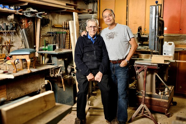 Here's one of my pop with our oldest friend Mervin who is one of the greatest maker's I know. The rest of the set is his shop, we used to spend time with him and make stuff all the time! Unfortunately, due to a stroke (he's 98!) he is unable to make stuff anymore, but I inherited his hardwoods.  - Eric Au