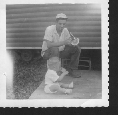 My father, Edward Newmyer, worked construction his whole working life as everything from plumber to electrician to carpenter, but most of it operating heavy equipment. He passed away on 12/31/2013. He taught me more than I can ever fully describe. The objects in the photos are things Dad built. A bread slicer, line reel, wind mill, wooden jeep model, a garden tractor built from a Studebaker car frame. - Robert Newmyer