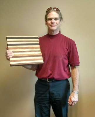 My name is Michael Hurst and when I grow up I want to make cutting boards, like this one I made for friends as a housewarming gift. (Father of Make Editor Nathan Hurst)