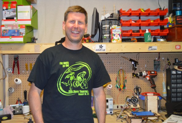 here is a picture of my dad with the workbench he built for me. - Lewis Calloway