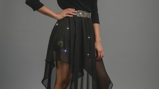Add some sparkle to a skirt or other item with a FLORA controller and accelerometer,  conductive thread, and RGB NeoPixels. More info at: https://learn.adafruit.com/sparkle-skirt