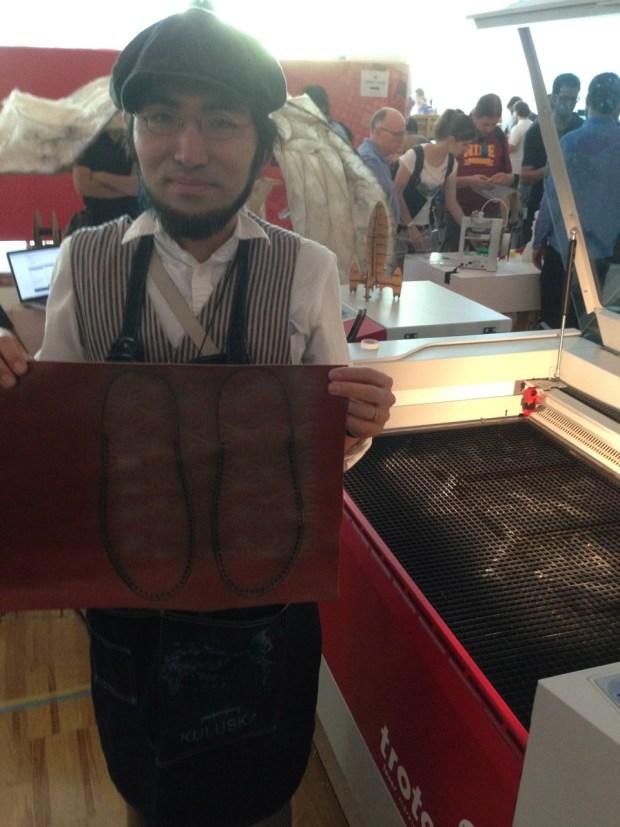 Naoki Fujimoto of FabLab Kamakura in Japan and his open slippers