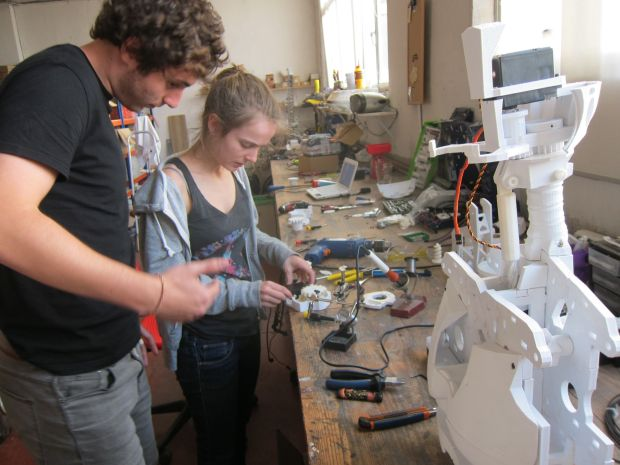 Maker Faire push: David Deza and Nerea Calvo printing and building an InMoov, a life size open source humanoid robot out of France