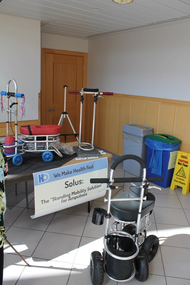 Solus had various mobility scooters designed for amputees on display.