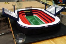 Pats Fan Builds Mini Stadium for Super Bowl Spread