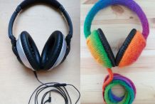 DIY Knitted Rainbow Headphones