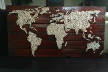 Upcycled Pallet Map Has the World on a String