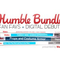 "Books piled up with ""Humble Bundle Fan Favs + Digital Debuts"" written above."