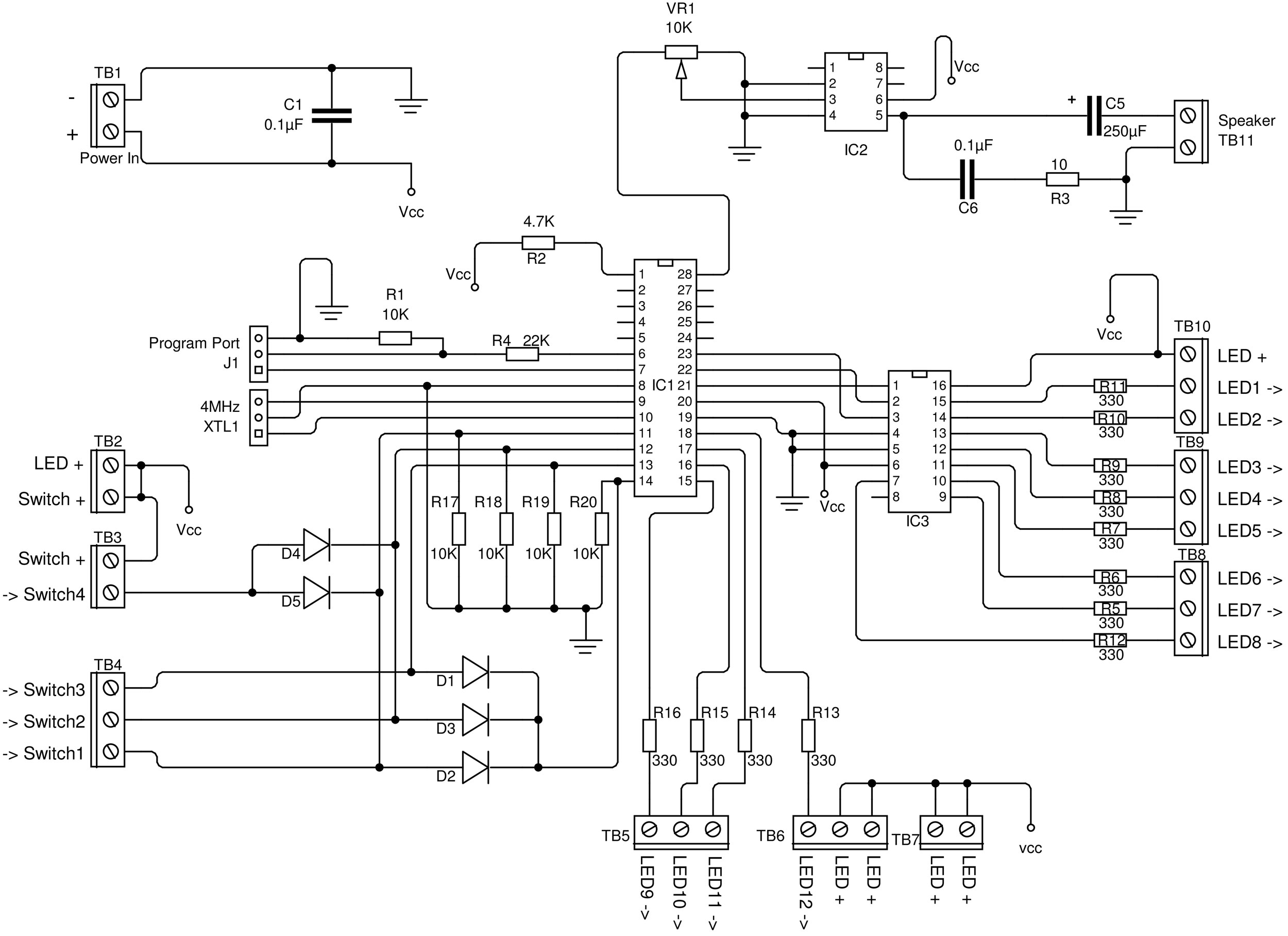 Schematic R Tronic 8 Bit build and wire a toy music sequencer make  at aneh.co