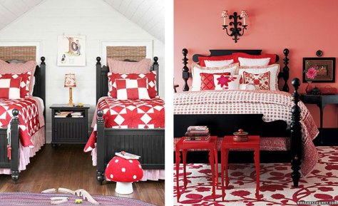 Black Wooden Beds with Red Bedding