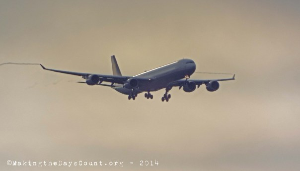 an A340 glides out of the sun for a landing at O'Hare - Sunday August 17th