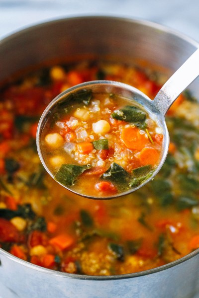 Quinoa Chickpea and Spinach Soup - Making Thyme for Health