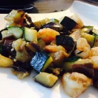 Recept: Aubergine, courgette met garnalen
