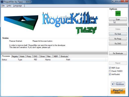[Image: RogueKiller scaning for Luhe.Sirefef.A virus]