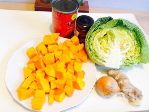 Curry mit Kürbis und Wirsing