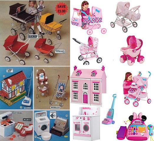 Für Mädchen gedachte Spielsachen, ca. 1970er Jahre und 2000er Jahre im Vergleich