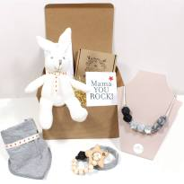 CHRISTMAS STARS HAMPER square - Christmas Stars Mum and baby teething necklace and gifts hamper