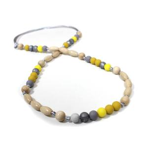 Elements Yellow mustard grey 005 - Mustard yellow grey Silicone wood teething nursing necklace