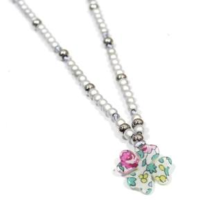 LIBERTY ELOISE ROSE FLOWER NECKLACE 3 - Liberty print flower nursing teething fiddle necklace Eloise