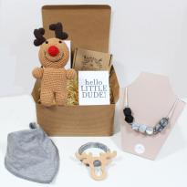 RUDOLPH HAMPER - Rudolph reindeer mum and baby teething necklace and gifts hamper