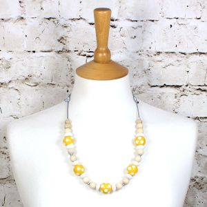 DOTTY YELLOW 1 - Dotty Yellow wood silicone teething nursing fiddle necklace