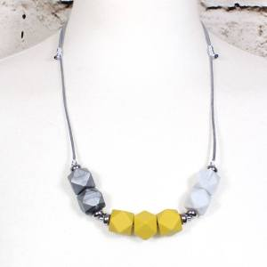 mustard marble silver 2018 3 - Mustard yellow grey GEO BEADS silicone teething necklace