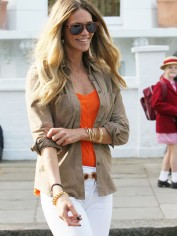 Yummy mummy Elle Macpherson looking effortlessy chic on the school run in London