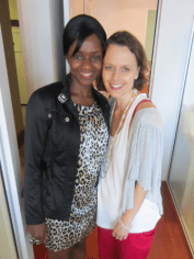 Aminata Conteh with Mia after their interview. Her story will move you.