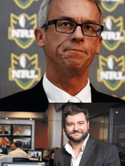 NRL CEO David Gallop and radio broadcaster, footy fan, Paul Murray