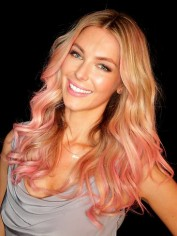 Jennifer Hawkins with pink hair