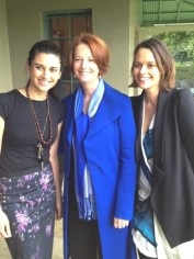 Mamamia's Publisher Mia Freedman and Managing Editor Jamila Rizvi with Prime Minister Julia Gillard.
