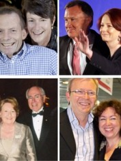 Clockwise from top left: Tony and Margie Abbott, Julia Gillard and Tim Matheison, Kevin Rudd and Therese Rein, John and Janette Howard.