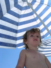 Baby Under Beach Umbrella