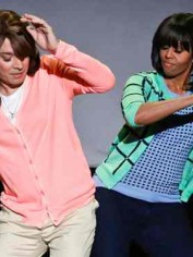 Michelle Obama dancing with Jimmy Fallon.