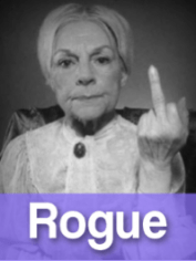 Rogue woman with finger