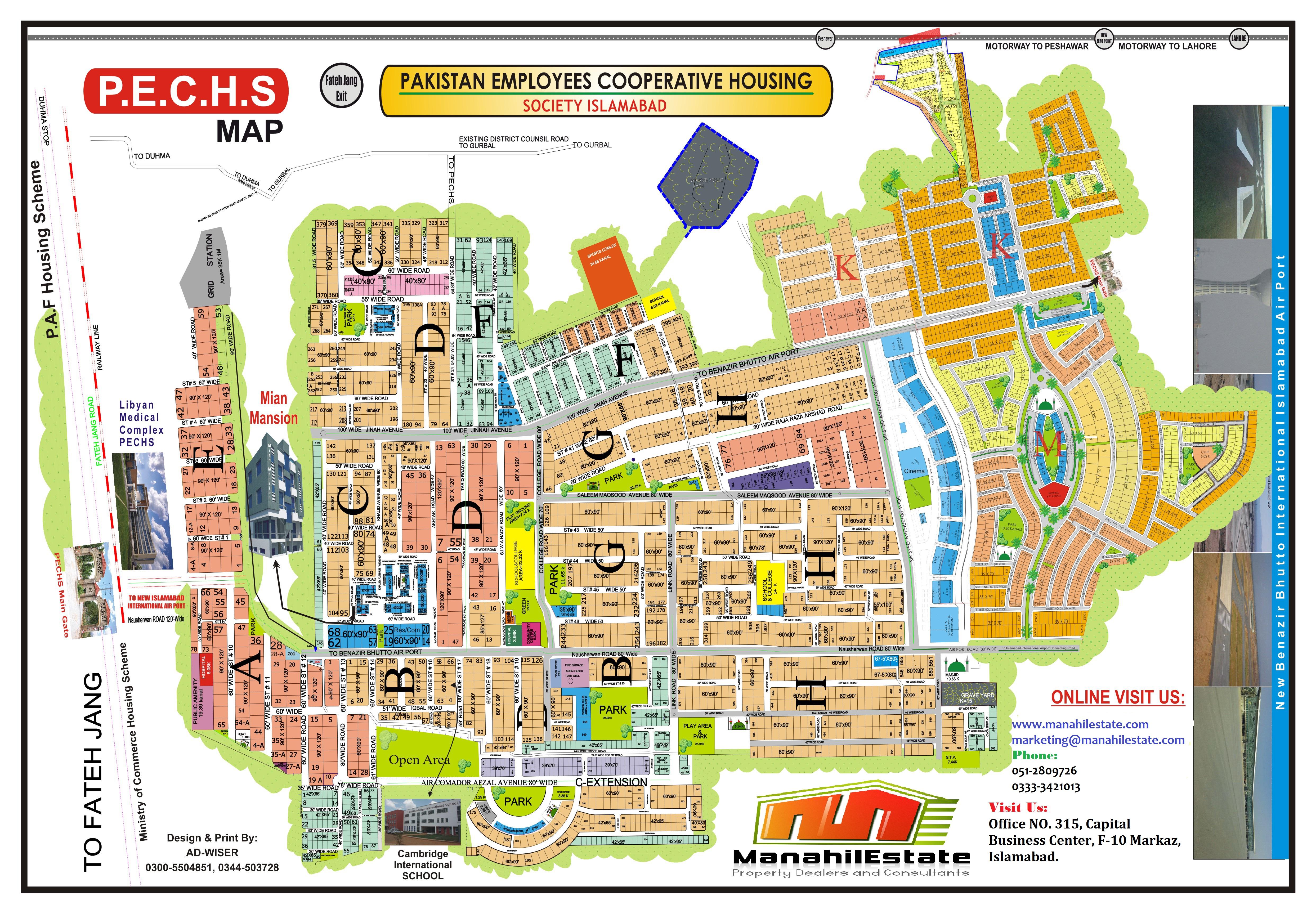 PECHS Islamabad Maps - Manahil Estate