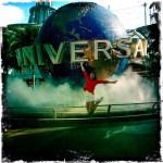 girl jumping. jumping in universal studios.