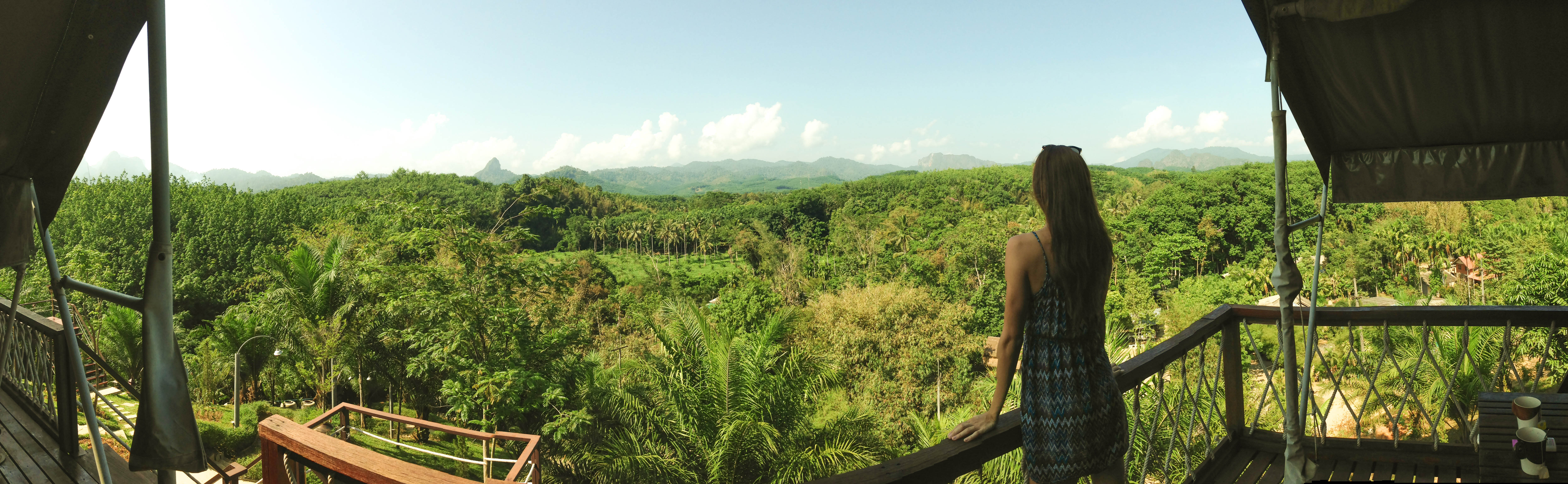 girl looking over walley thailand.