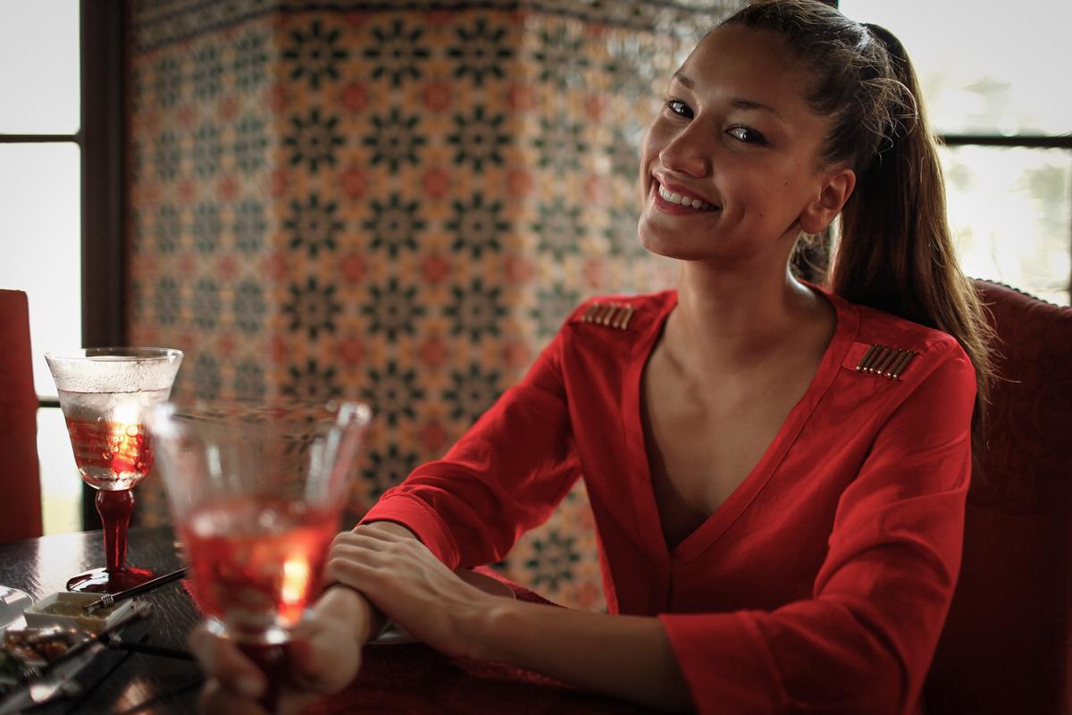 girl in restaurant with red goblet in villa maroc pranburi