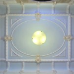 The Manchester's celestial Beaux Arts lobby ceiling, with its original architectural elements still intact