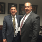 Office of National Drug Control Policy Director Michael Botticelli with Gloucester Police Chief Leonard Campanello in Washington, DC.