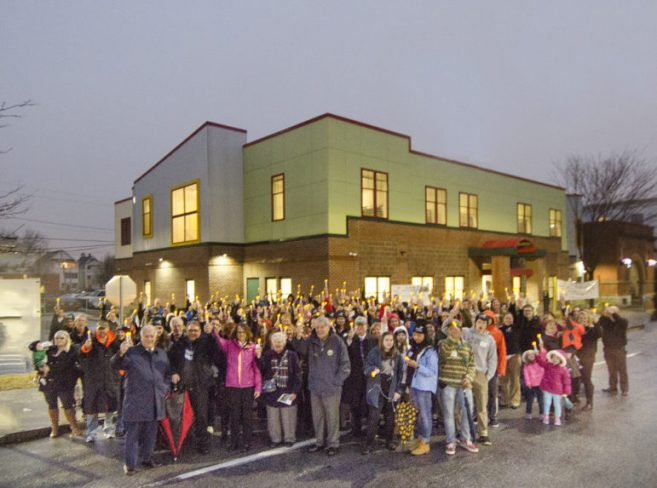 Supporters gather outside the new FIT center on Lake Avenue.