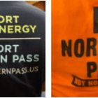 Dueling shirts at the final Northern Pass public meeting.