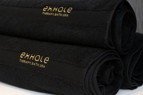 Photo of luxury spa towels at Exhale Therapy Didsbury.
