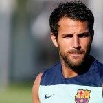 Barcelona's Cesc Fabregas training with Barcelona