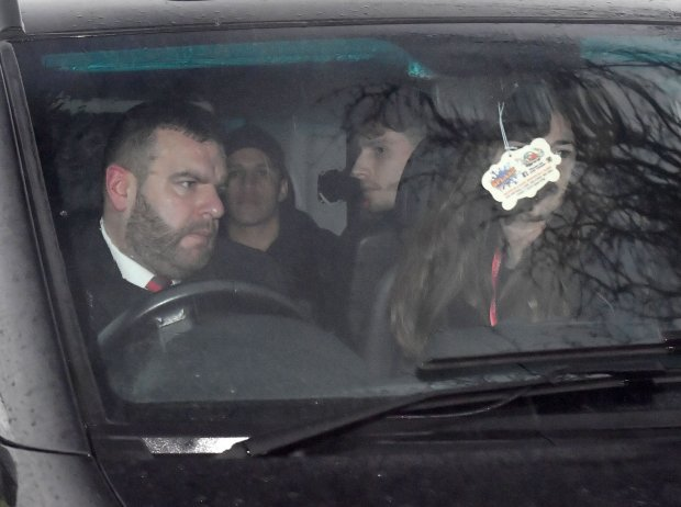 Pics Zenpix Ltd.. Sanchezs' party arrive at the back gate at Carrington
